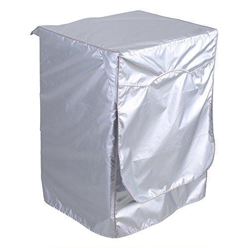 Cubierta Para Lavadora, Lavadora de Tambor Cubierta Protectora a Prueba de Agua Protectora a Prueba de Polvo Para La Secadora de Carga Frontal Lavandería Doméstica (Plata)