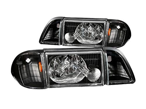 Anzo USA 121192 Ford Mustang Crystal w/Corner/Inner Corners Black Headlight Assembly - (Sold in Pairs)
