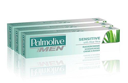 Palmolive Rasiercreme für empfindliche Haut, mit Aloe Vera, 100ml, 3er-Pack