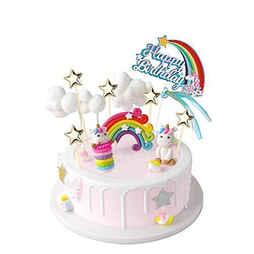YZCX Decoración para Tarta Unicornio Cake Topper Decoraciones de Pasteles Cumpleaños Fiesta para Niñas Niños (Unicornio)