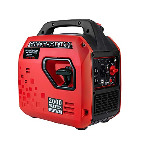 PowerSmart PS5025 Super Quiet 2000 watt Portable Inverter Generator, Red/Black