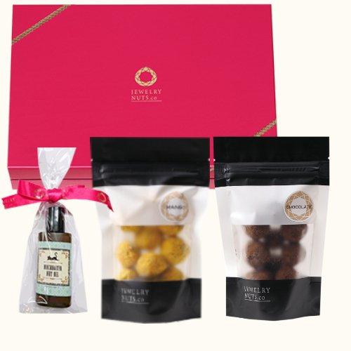 ジュエリーナッツ「スイーツ」2袋(チョコレート・マンゴー)とマカダミアナッツオイルのセット ジュエリーナッツ・カンパニー