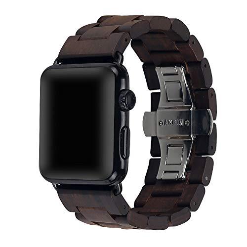 AIYIBEN Cinturino da orologio in legno 42mm/44mm/45mm con fibbia a farfalla in acciaio inox compatibile per iWatch Series 1 2 3 4 5 5 6 7(Marrone)