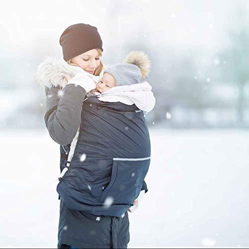 HOPPEDIZ Fleece-Cover 3in1 - wärmendes Tragecover für Tragehilfen mit Regenschutz - Anthrazit
