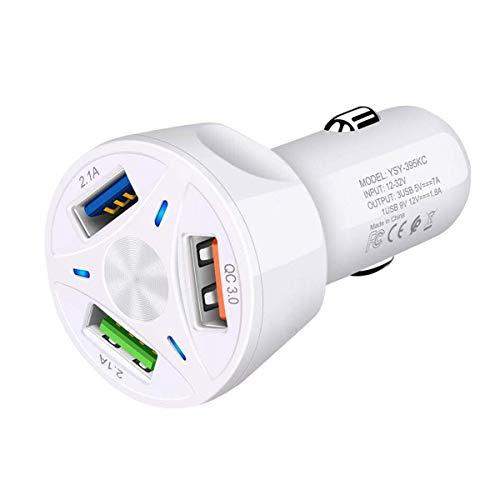 3 Puerto USB Cargador Coche, Cigarrillos de Encendedor, Adaptador Automóvil con 3.0...