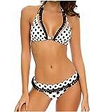 YANFANG Traje De BañO Mujer Sexy con Estampado Lunares Halter Vendaje Dividido Mujeres Dos Piezas Bikini Set Bandage Push Up Acolchado Bling Hight Cintura