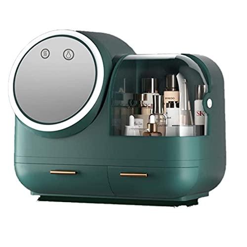 SETSCZY Organizador De Maquillaje, Luz LED, Espejo HD Que Se Puede Girar con Carga USB con Un Secador De Pelo para Promover La Absorción De Loción Organizador De Maquillaje De Alta Capacidad,Verde
