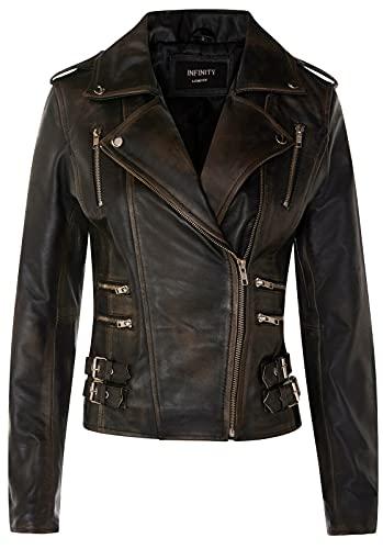 Infinity Leather Chaqueta Motera Retro 100% Cuero Napa para Mujer