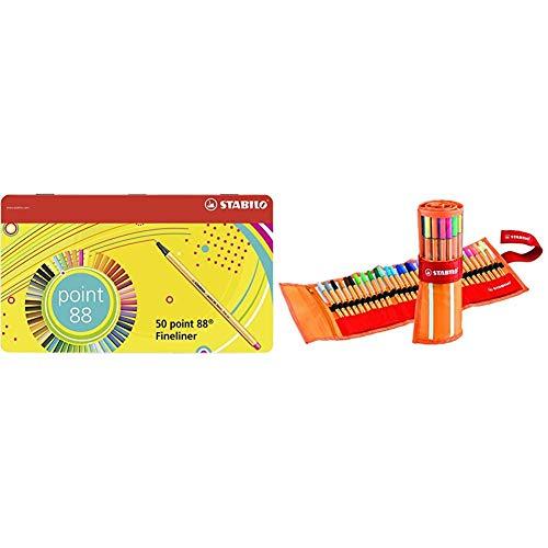 Stabilo Point 88 Penna Fineliner - Scatola Di Metallo da 50 Colori Assortiti & point 88 Penna Fineliner colori assortiti - Rollerset da 30
