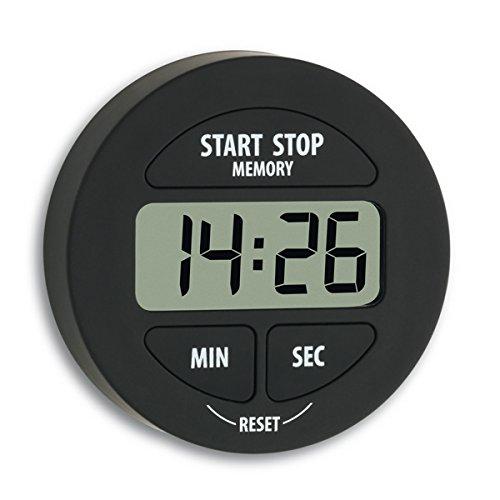 TFA Dostmann Digitaler Timer und Stoppuhr, 38.2022.01, klein und handlich, magnetisch, mit Memory-Funktion, schwarz