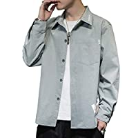 メンズ シャツ 夏服 長袖 シャツ 無地 胸ポケット 吸汗速乾 快適な 軽い 柔らかい かっこいい ワイ シンプル オシャレ シャツ-gray-3XL