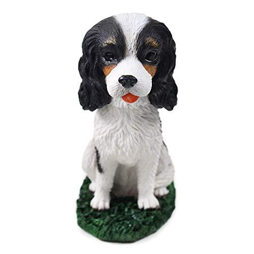 Animal Den Cavalier King Charles B/W Dog Bobblehead Figure Toy for Car Dash Desk Fun Toy Accessory
