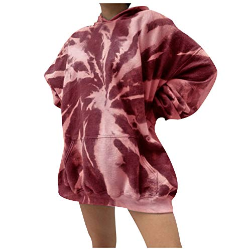 Eaylis Frauen Lose Kapuzenpullover mit Batikmuster Lässige Langarm-Sweatshirts
