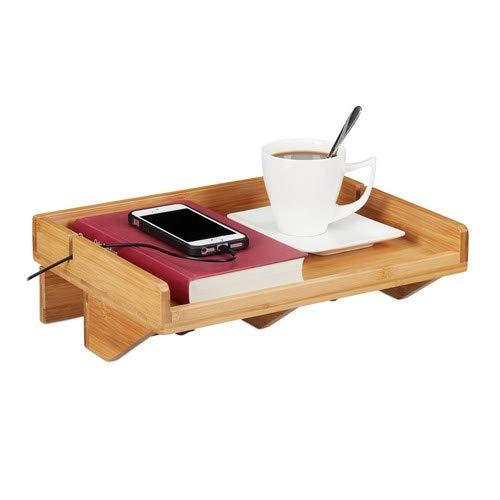 Relaxdays bedplank, mini-nachtkastje om vast te klemmen, van bamboe, ruimtebesparend, kabelgleuven, opbergruimte BT 32,5x27 cm, naturel, 5x27 cm