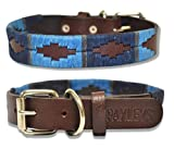 Paxleys <span class='highlight'>Handmade</span> Hand Stitched Brown <span class='highlight'>Leather</span> POLO <span class='highlight'>Dog</span> Collar, Metal Roller Buckle, Suitable For Puppy <span class='highlight'>Dog</span>s, Argentina Style Easy Adjustable Waterproof <span class='highlight'>UK</span> Designer, Blue (Extra Small - 20cm - 30cm)