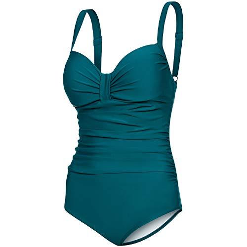 Aqua Speed Badeanzug Damen | Bademode Frauen Bauchweg | Badebekleidung Push Up | eleganter Damenbadeanzug Einteiler | Frauenbadeanzug einteilig mit Bügeln | Grün, Gr. 42 - D - E | Olivia