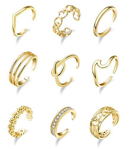 Vegolita 9PCS Adjustable Open Toe Rings for Women Girls Tail Rings Knuckle Rings CZ Flower Knot Wave Gold Tone