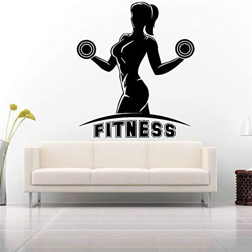 yaonuli Vinyl Aufkleber Wandtattoo Aufkleber Fitnessstudio Fitness Club Logo abnehmbar 30X64cm