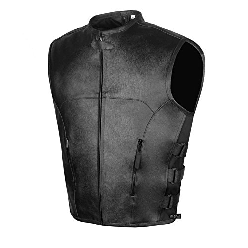 Men's Biker Swat Style Armor Motorcycle Leather Vest Conceal Carry Pockets L