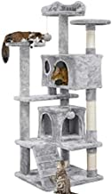 YAHEETECH 54.5in Multi-Level Cat Tree with Sisal-Covered Scratching Posts, Plush Perches, Double Condos and Replaceable Dangling Balls Light Gray - for Kittens, Cats and Pets
