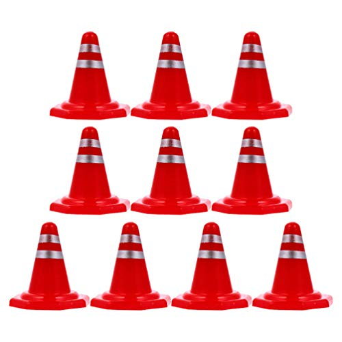 Tomaibaby 20 mini conos de tráfico, conos de plástico, señales de tráfico, bloques de tráfico para escenas en miniatura, mesa de arena, decoración de bricolaje estilo aleatorio