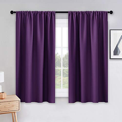 PONY DANCE Kitchen Blackout Curtains - Home Decoration Light Block Curtains & Draperies Window Coverings Short Drapes with Rod Pocket for Bedroom, 42-inch by 45-inch, Royal Purple, 2 Panels