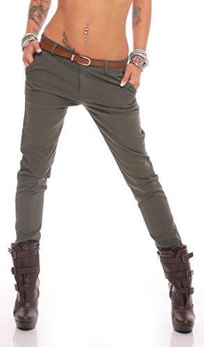 Fashion4Young 10777 Damen Skinny Chino Pant Hautenge Treggings Stretch-Stoff Damenhose mit Gürtel (XL=42, Khaki)