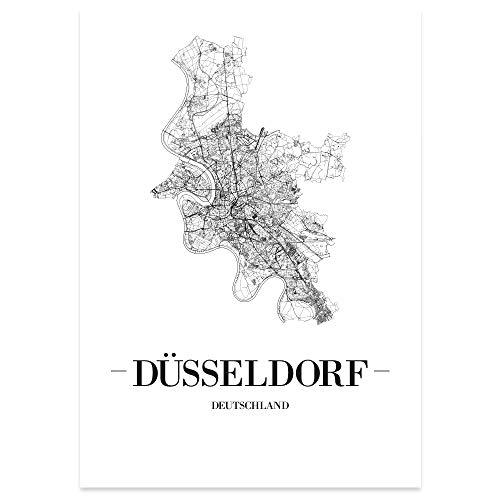 JUNIWORDS Stadtposter, Düsseldorf, Wähle eine Größe, 21 x 30 cm, Poster, Schrift A, Weiß
