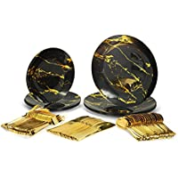 125-Piece The Marble Collection Plastic Plates & Silverware Set