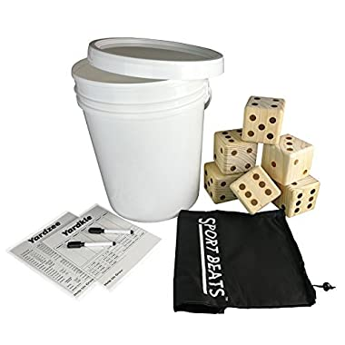 SPORT BEATS Giant Wooden Yard Dice Set 6 in Carry Bag for Outdoor Fun , barbeque , picnic , tailgating games , party events , lawn games with Dry Erase Scorecards and Marker Pen Free