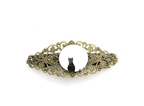 schmuck-stadt Katze im Mond Motiv Cabochon Damen Haarspange bronzefarben