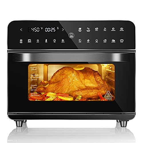 Air Fryer Toaster Oven, 12-in-1 Multifunction Convection Oven Combo with Digital Touchscreen, 26.3 Quarts Large Capacity, Dehydrator, Warmer with Recipe, 5 Accessories, 1800W