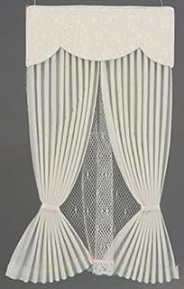 f23366f81c48 Melody Jane Dollhouse Ecru Vale Draperies Curtains Miniature Window  Accessory