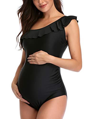GINKANA Maternity One Piece Swimsuits One Shoulder Swimwear Asymmetric Ruffle Pregnancy Beachwear