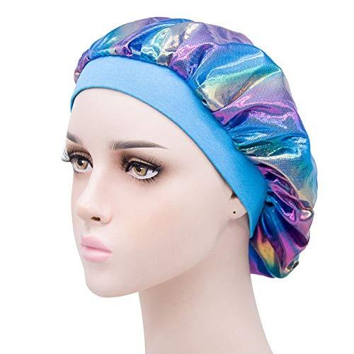 Gorro de dormir de satén suave de seda elástico para dormir sombrero capó Nightcap Salón de la cabeza de la cubierta de la cabeza de la pérdida de cabello con cómoda banda ancha para las mujeres