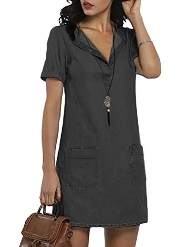 ORANDESIGNE Jeanskleid Sommerkleid Damen Jeans Kleider V-Ausschnitt Kurzarm Partykleid Tunika Hemd Blusenkleid Knielang Kleid Denimkleid B Schwarz M