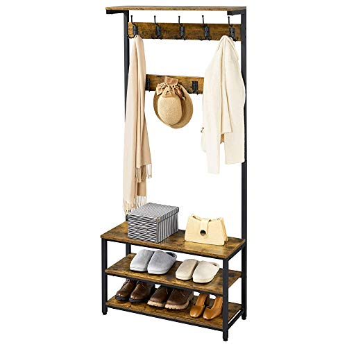YAHEETECH Industrial Hall Tree with Shoe Storage and Shelf Coat Rack Shoe Bench Industrial Accent Furniture Metal Frame 3-in-1 Entryway Coat Rack