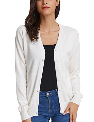 Women's Plus Size Sweater Lightweight Long Sleeve Solid Cardigan (M,Ivory)