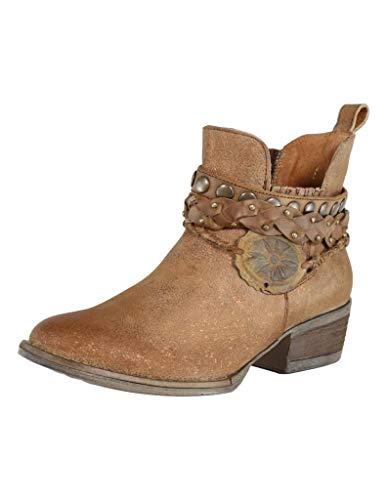 Corral Women's Brown Harness & Stud Details Round Toe Leather Western Ankle Cowboy Boots - 5 B