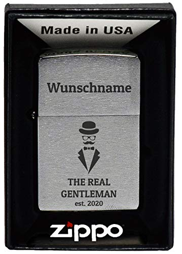 geschenke-fabrik.de Feuerzeug mit Gravur - personalisiert optional mit Geschenkset - Geschenk für Männer, Papa oder Freund - Motiv Real Gentleman