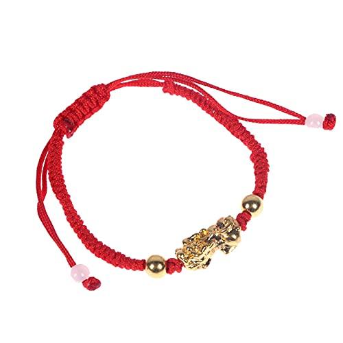 Pulseras De Cuerda Roja De La Suerte De Feng Shui Chino, Pulsera Ajustable Con Nudos Budistas Tibetanos De Color Dorado Pixiu Para Hombres Y Mujeres