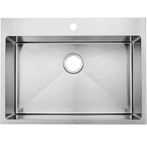Commercial 28 inch 16 Gauge Top mount Drop-in Single Bowl Basin Handmade T304 Brushed Nickel Kitchen Sink, Stainless Steel 10 Inch Deep Kitchen Sinks