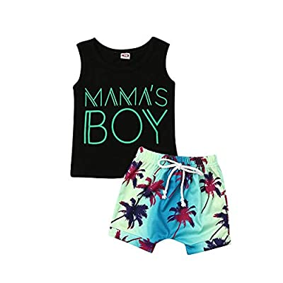 2Pcs Baby Boys Summer Clothing Sets Cute Mamas Boy Sleeveless Tank Tops T-Shirt+Palm Shorts Outfits (Black Tank Tops+Beach Shorts,12-18 Months)