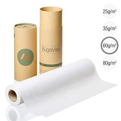 Amazy Bügelvlies für leichte Stoffe (weiß | 60 g/m²) – Bügeleinlage zum Verstärken von Kleidung, Decken und Taschen, für Applikationen und Patchwork (9 x 0,4 m)