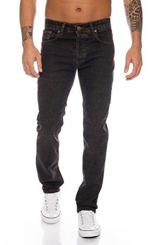 Lorenzo Loren Herren Jeans Hose Denim Jeans Used-Look Regular-Fit [LL326 - Schwarz - W40 L36]
