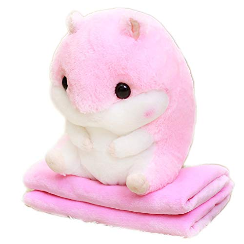 Ourine Cartoon Hamster Kissen Decke Quilt Plüschtier, 2 in 1 Cartoon Hamster Kissen Decke Quilt Plüschtier Kissen Büro Praktisches Plüschtier Rosa