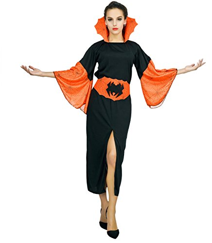 SEA HARE Frauen Halloween Hexe Orange Kostüm (S)