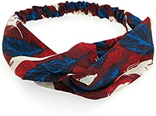 MOPOLIS Fashion Women Turban Twist Knot Head Wrap Headband Twisted Knotted Hair Band | Main Colour - Wine Red Feather
