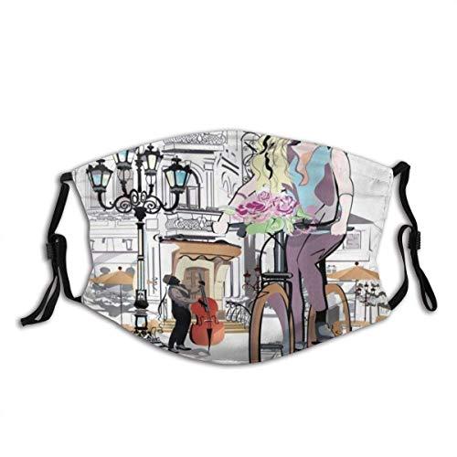 Máscara parisina con bicicleta y rosa joven en el casco antiguo de la ciudad musical, de viaje romántico, máscara de media cara con orejeras, antipolvo, antiniebla, antiviento
