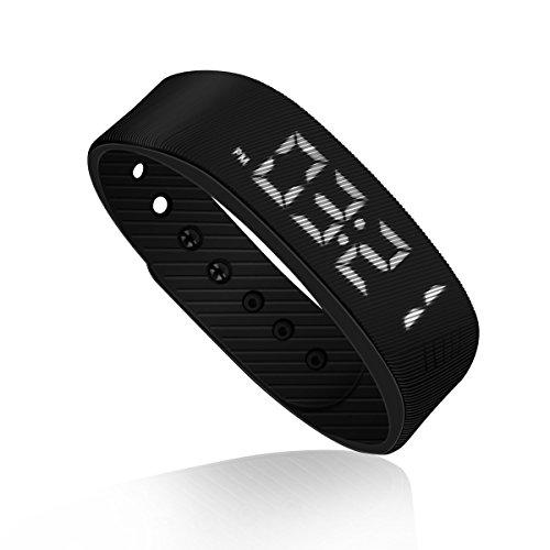 Schrittzähler Pedometer Einfach bedienung Fitness Armband Fitnessarmband mit Uhr Kalorienzähler Schrittmesser Ohne Bluetooth Aktivität tracker Kalorien Zähler Messer Test Ohne APP Zum Joggen, Schwarz.